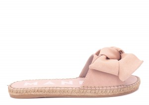 Manebi espadrilles flat sandals with bow pastel rose