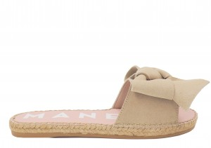 Manebi espadrilles flat sandals with bow  champagne beige