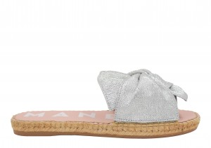 Manebi espadrilles flat sandals with bow silver