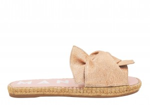 Manebi espadrilles flat sandals with bow  rose gold