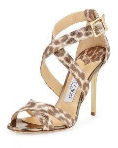 JIMMY CHOO LOTTIE  Leopard Print Gold
