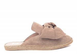 Manebi mule with bow  hamptons  taupe