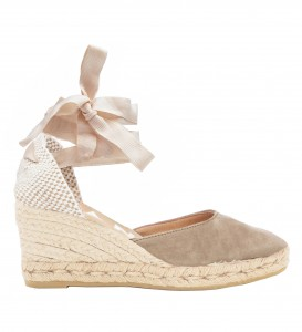 Manebi wedge  low sandal hamptons vintage taupe