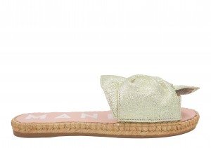 Manebi espadrilles flat sandals with bow platinum