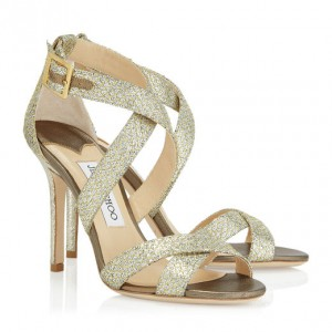 JIMMY CHOO LOTTIE SANDALS Champagne Glitter Fabric