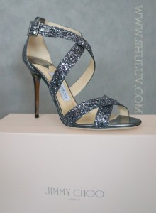 JIMMY CHOO LOTTIE Gunmetal Coarse Glitter