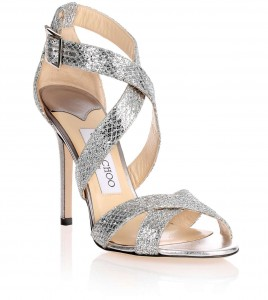 JIMMY CHOO LOTTIE SANDALS Silver Glitter Fabric